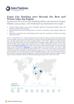 Global: Expat City Ranking 2017 Reveals the Best and Worst Cities for Expats