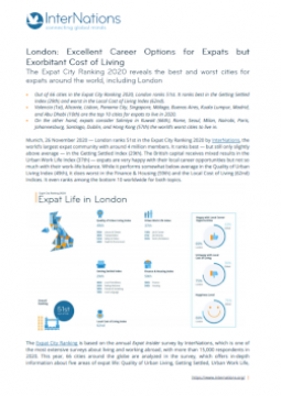 London: Excellent Career Options for Expats but Exorbitant Cost of Living