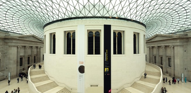 The Great Court of the British Museum, with its spectacular glass roof, is the largest courtyard of its kind in Europe.