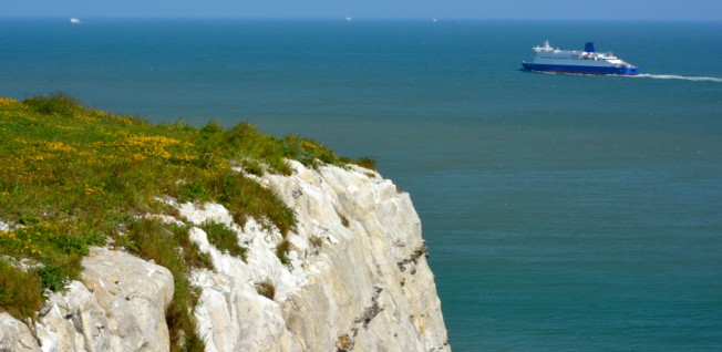 Ferries to and from Dover are regularly used to cross the English Channel.