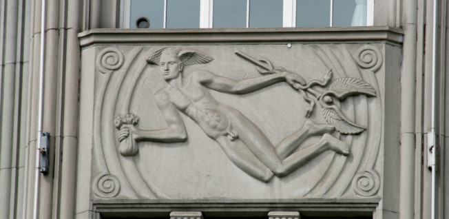 Mercury, the Roman god of money, on the facade of a Zurich bank.