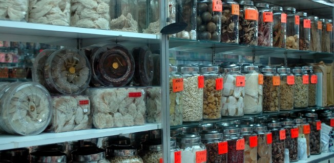 A Hong Kong pharmacy often also sells traditional Chinese medicine.