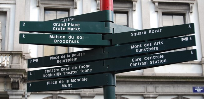 Brussels is a bilingual city, as every road sign demonstrates.