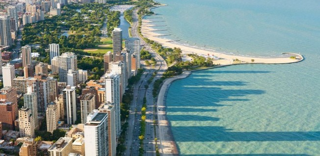 The Chicago skyline along the coast of Lake Michigan is one of the city's main attractions.