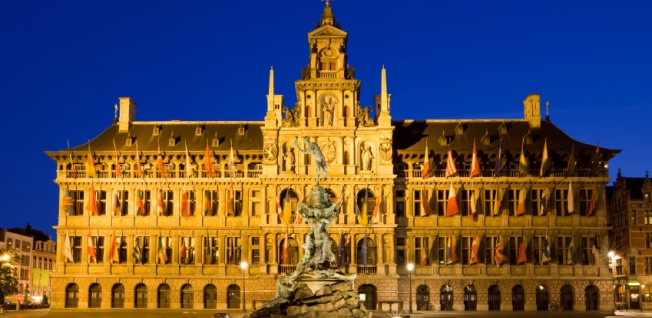 The City Hall of Antwerp incorporates both Flemish and Italian influences.