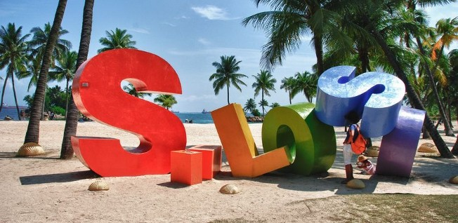 Sentosa Beach is one of the major destinations for sports and fun.