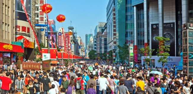 Nanjing Road is one of the main shopping streets in Shanghai.