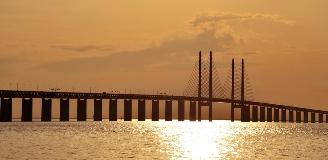 The Öresund Bridge connects Sweden to Copenhagen.