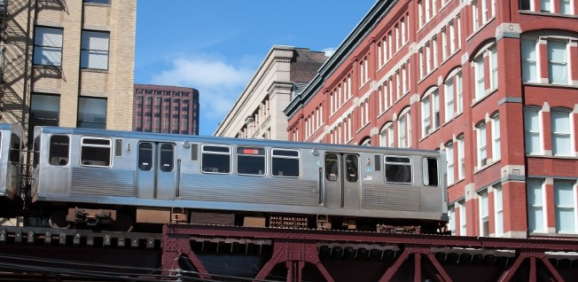 "The ""L"", originally short for ""elevated"", is a common sight in downtown Chicago."