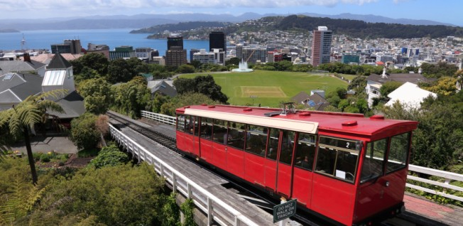 The bright red cable cars are one of Wellington's main attractions.