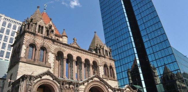 The modern and the historic coexist side by side in Boston.