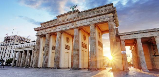The Brandenburg Gate is at the heart of Berlin.