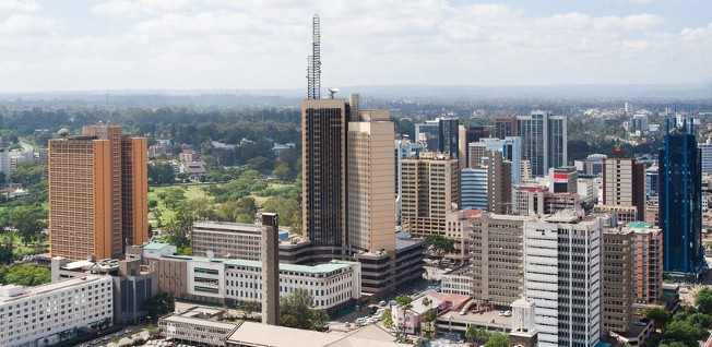 The central business district in downtown Nairobi is characterized by plenty of skyscrapers and concrete high-rises.
