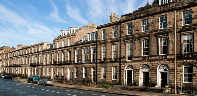 Such residential streets are typical of Edinburgh's older neighborhoods.