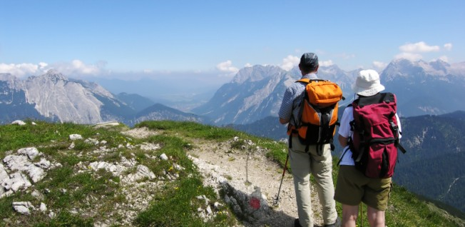 Hiking in the mountains is a popular leisure activity in Southern Germany.