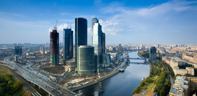 Modern office buildings and business parks shape the image of Russia's economy today.