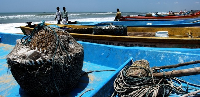 These traditional boats hardly compare to the cargo ships frequenting Chennai's port.