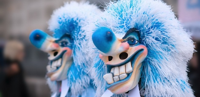 Such traditional masks are characteristic of Basel's famous carnival.