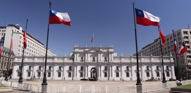 La Moneda Palace, the President's residence, occupies an entire block in downtown Santiago.