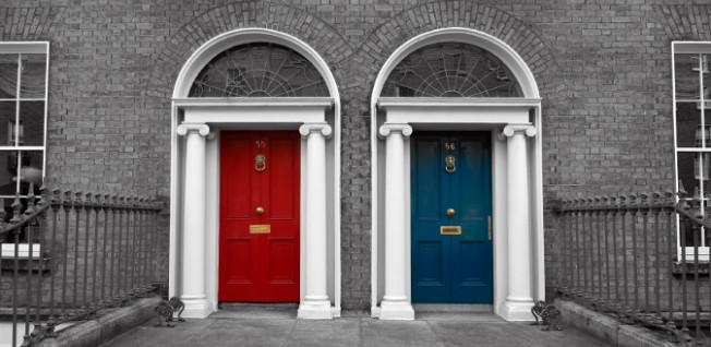 Colorful Georgian doors like these can be found in Dublin's southside.