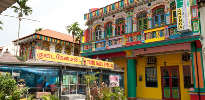 Singapore's Little India has colorful houses and traditional shops and food stalls.
