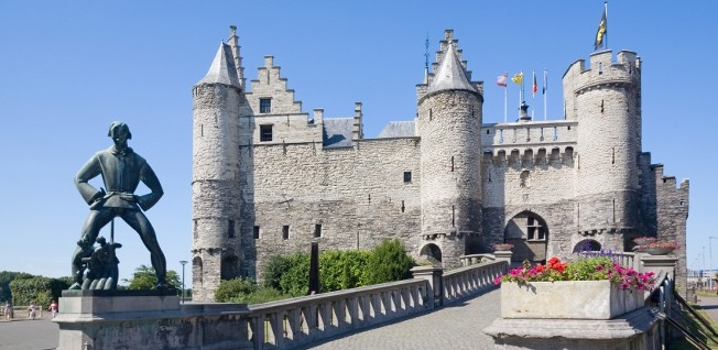 Het Steen Castle, constructed in the 13th century, is one of Antwerp's oldest buildings.