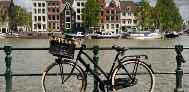 Dutch bikes represent the dynamic, yet relaxed, lifestyle in Amsterdam.