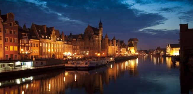 Gdansk waterfront at night