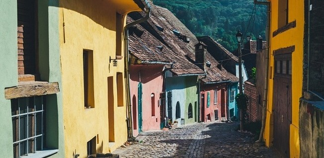 Street Lined with Cute and Colorful Little Houses