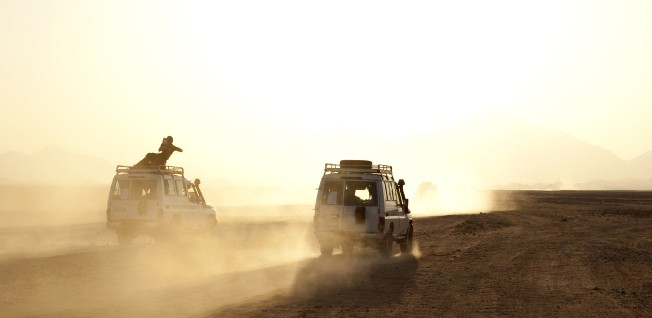 Desert safaris and driving outside of cities can be rather dangerous, especially when sand storms hit.