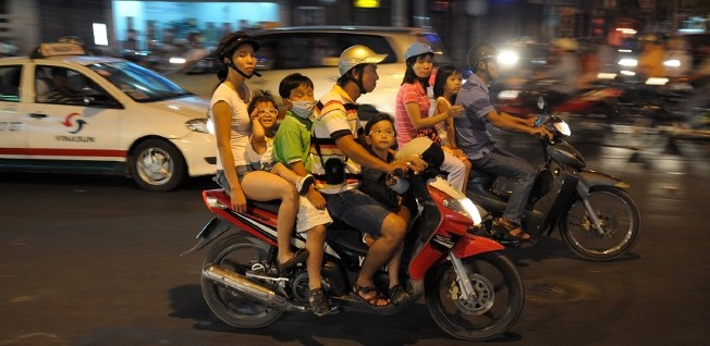 Scenes like these are common on the streets of Vietnam.