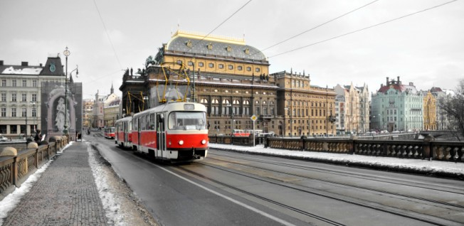 The red and white tramvaj is a familiar sight in Prague.