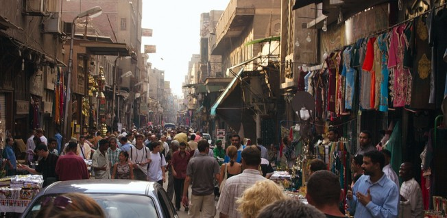 Narrow and crowded streets like this are typical of Cairo.