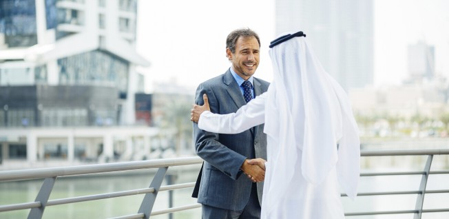 Handshakes are typically held for quite a while in the Arab world.