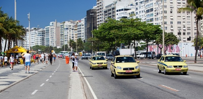 Yellow taxis are available all over Rio de Janeiro.