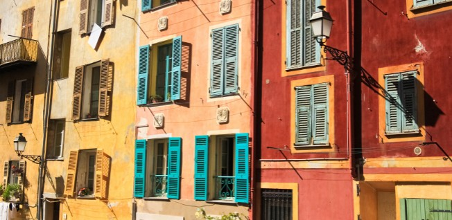 Colorful houses in Nice's famous Old Town are very desired by residents.