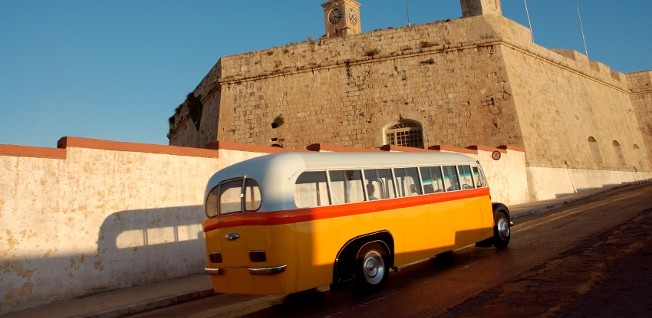 Today, Malta's characteristic orange-yellow-and-white buses are only used for touristic purposes.