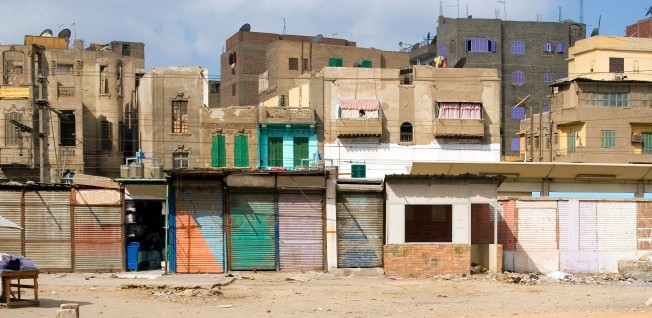 Informal settlements such as this one are a very common sight in Cairo.