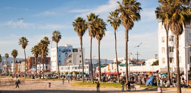 Once slightly on the rough side, Venice Beach is now a popular residential area.