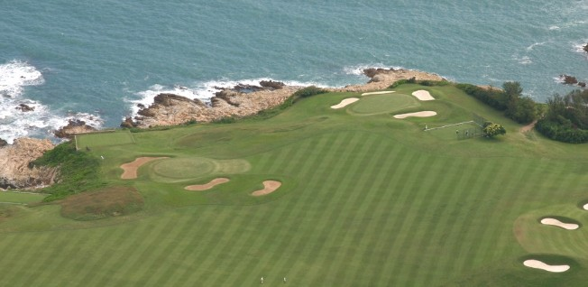 This aerial view of Shek O Country Club golf course shows the beautiful landscaping of courses in Hong Kong.
