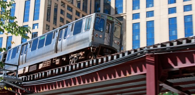 Chicago's elevated trains are a famous city feature and an important part of the local public transport network.