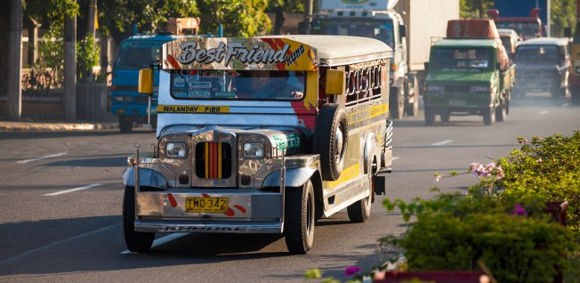 Jeepneys recklessly roam the streets of Manila.