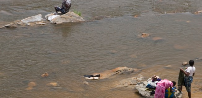 Access to water is a big problem in Nigeria, and laundry is often done in the river.