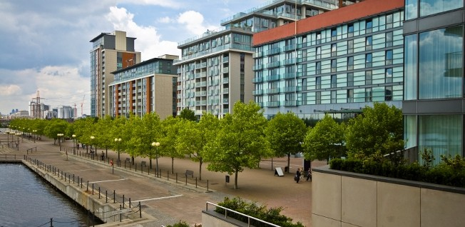 Modern housing developments like this are typical of the London Docklands area.